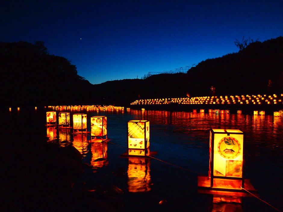 yame lantern festival river